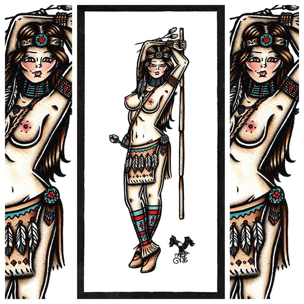 American Traditional tattoo flash sexy cherokee indian pinup spitshade painting.