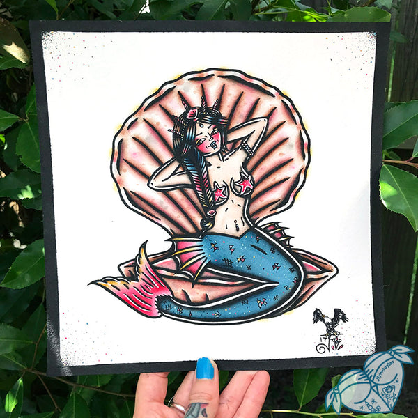 Original Clamshell Mermaid Painting