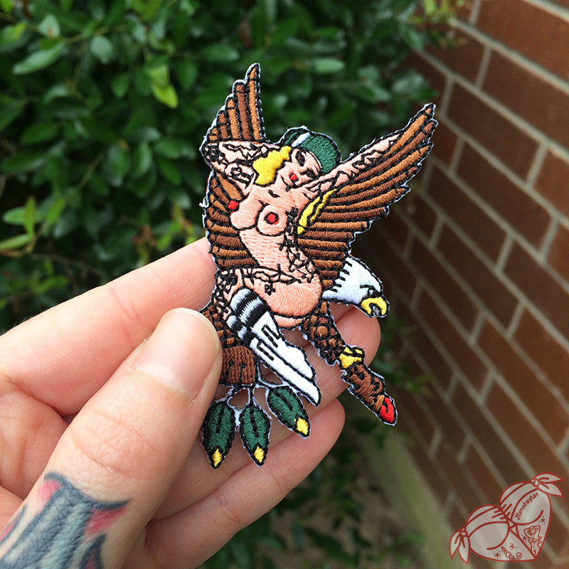American traditional tattoo flash Sailor Jerry eagle pinup embroidered patch.