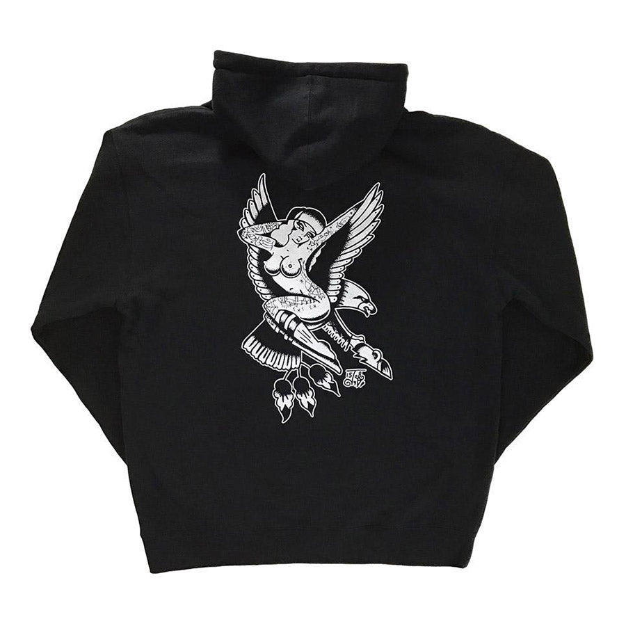 Tattoo style eagle and pinup hoodie.