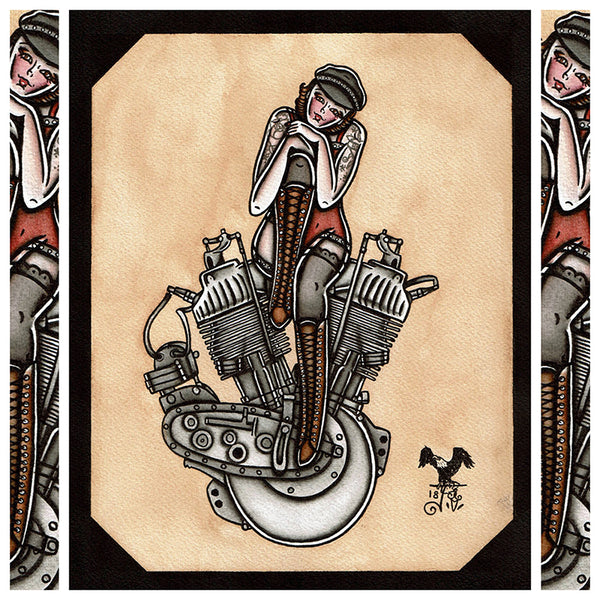 American Traditional tattoo flash sexy Harley-Davidson F-Head engine pinup spitshade painting.