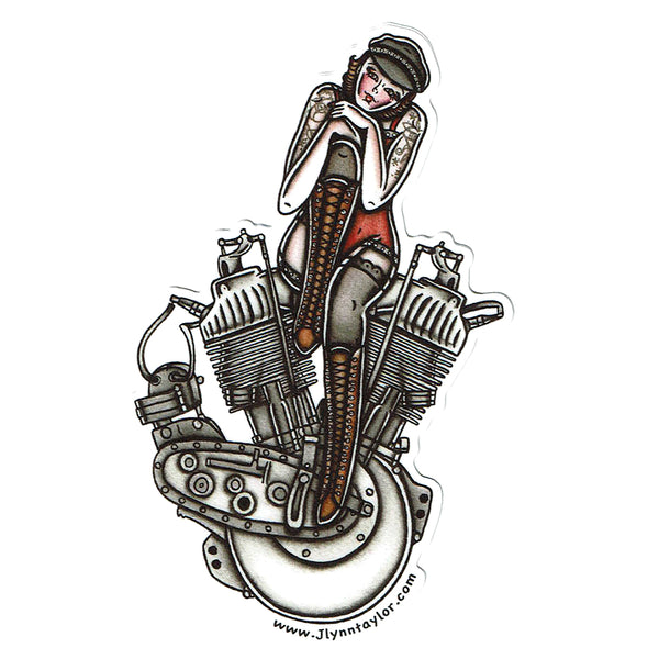 American Traditional tattoo flash sexy Harley Davidson motorcycle vintage F-Head engine pinup sticker.