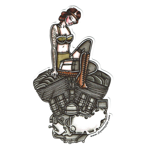American Traditional tattoo flash sexy Harley Davidson motorcycle vintage Flathead engine pinup sticker.