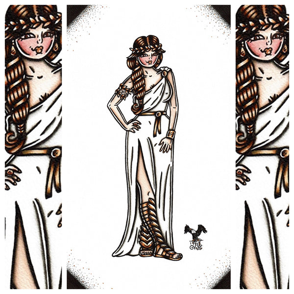 American Traditional tattoo flash sexy Greek Goddess pinup spitshade painting.