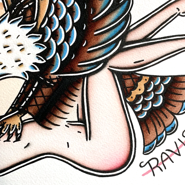 American Traditional tattoo flash sexy traditional eagle pinup spitshade painting.