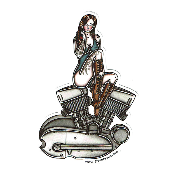 American Traditional tattoo flash sexy Harley Davidson motorcycle vintage K-Model engine pinup sticker.