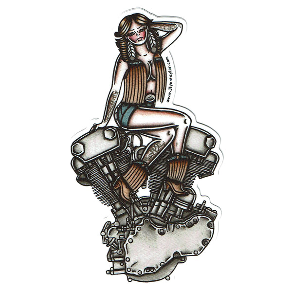 American Traditional tattoo flash sexy Harley Davidson motorcycle vintage Knucklehead engine pinup sticker.