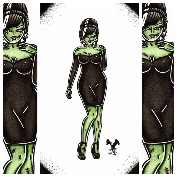 American Traditional tattoo flash sexy Frankenstein pinup spitshade painting.