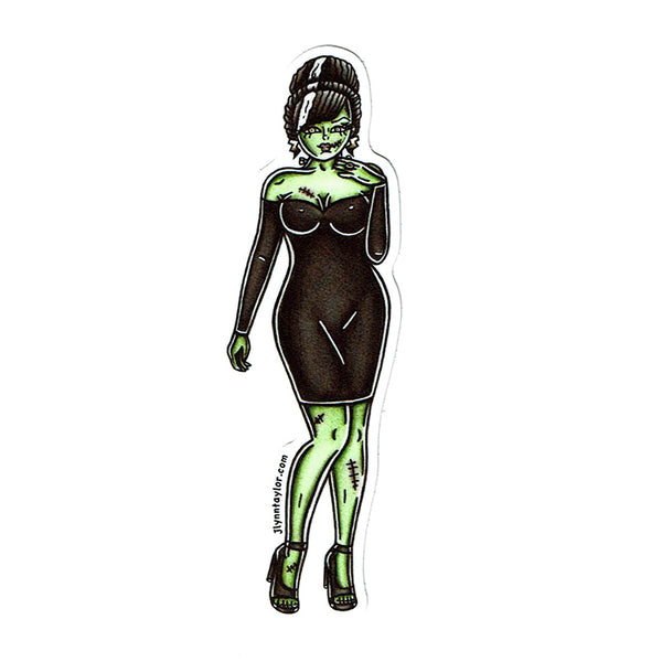 American Traditional tattoo flash sexy frankenstein pinup sticker.