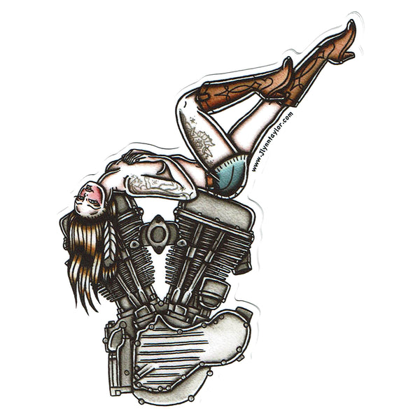 American Traditional tattoo flash sexy Harley Davidson motorcycle vintage Panhead engine pinup sticker.