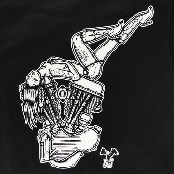 T-shirt with tattoo style pinup laying on Panhead engine.