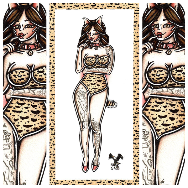 American traditional tattoo flash sexy pussycat pinup spitshade painting.