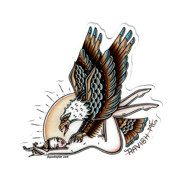 American traditional tattoo flash eagle and pinup sticker.