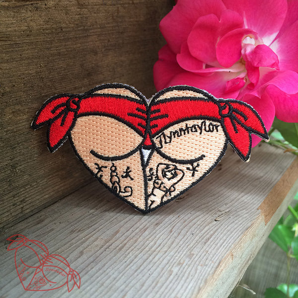 American traditional tattoo flash red scrunch butt bikini butt heart embroidered patch.