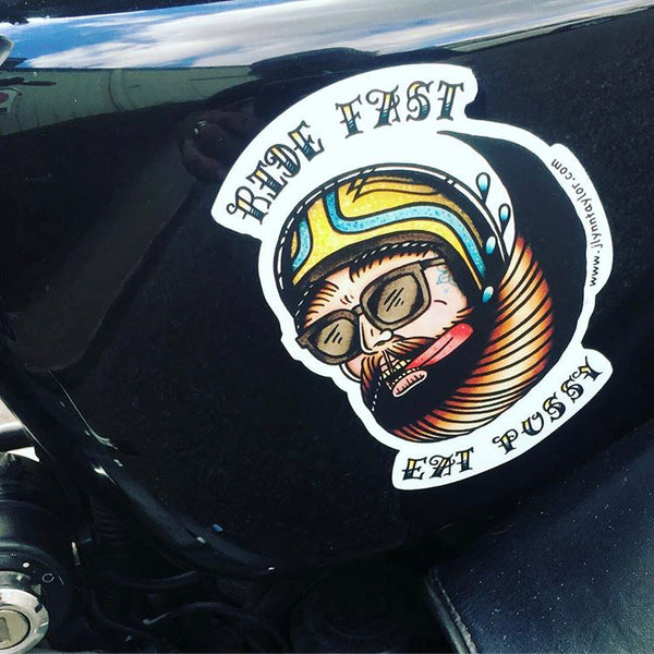 "American Traditional tattoo flash ""ride fast eat pussy"" drooling biker head sticker."
