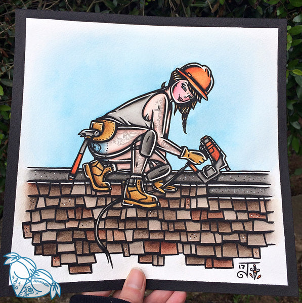 American Traditional tattoo flash sexy traditional working class roofer pinup spitshade painting.