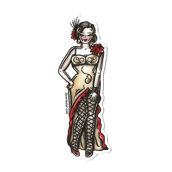 American Traditional tattoo flash saloon girl pinup sticker.
