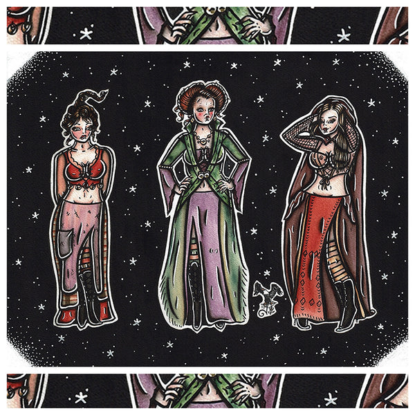 American Traditional tattoo flash sexy traditional Hocus Pocus Sanderson Sisters pinup spitshade painting.
