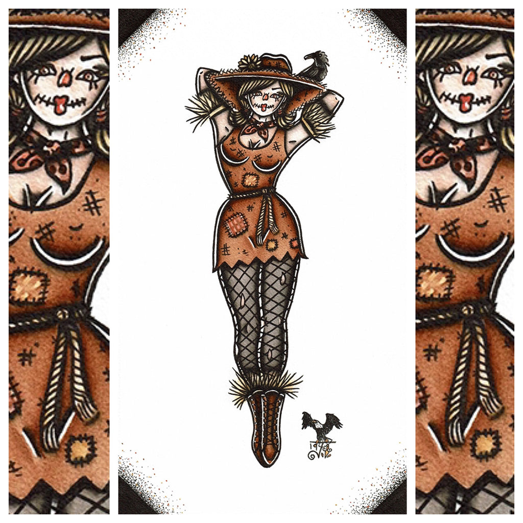 American Traditional tattoo flash sexy scarecrow pinup spitshade painting.