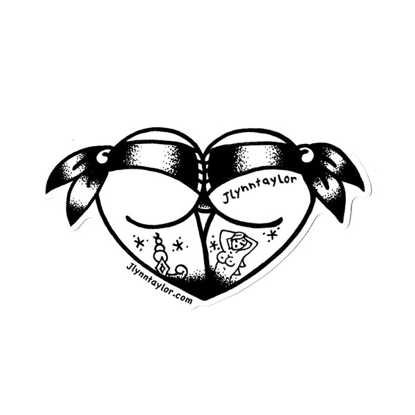 American traditional tattoo flash stipple scrunch butt bikini butt heart sticker.