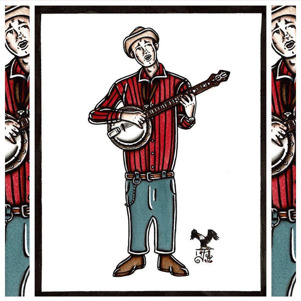 American Traditional tattoo flash sexy traditional banjo player David Stringbean Akeman spitshade painting.
