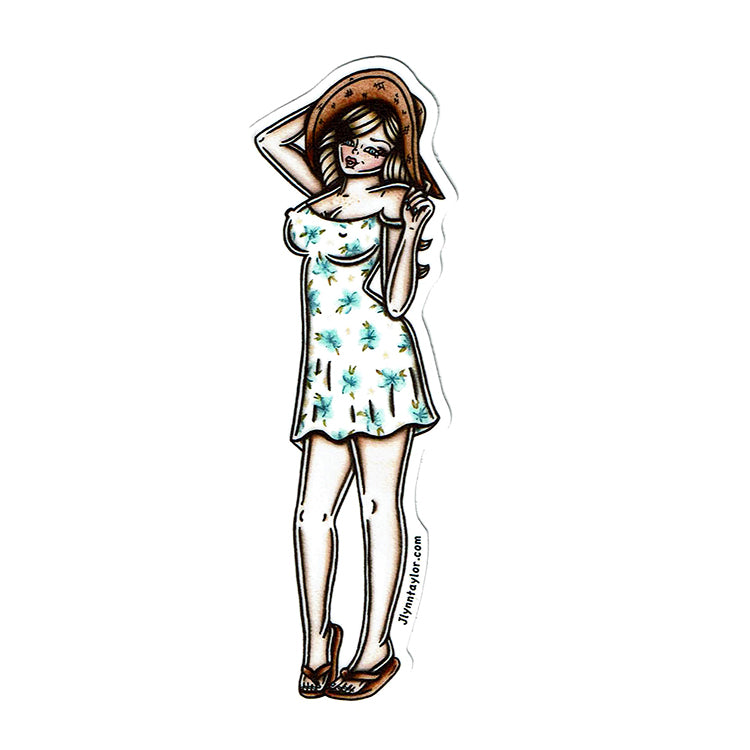 American Traditional tattoo flash sexy sun dress pinup sticker.