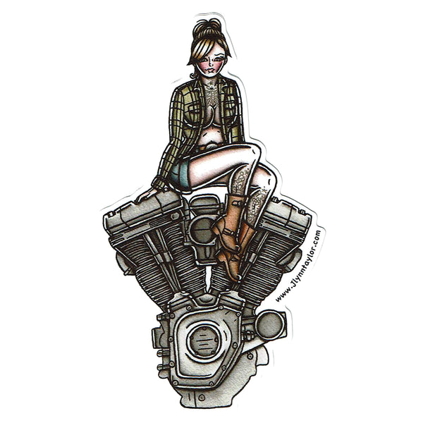 American Traditional tattoo flash sexy Harley Davidson motorcycle vintage Twin Cam engine pinup sticker.