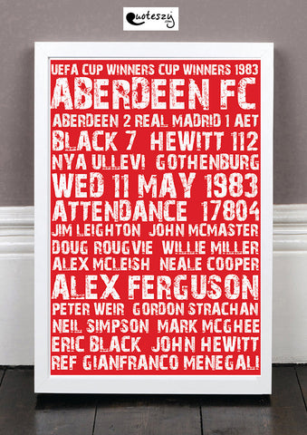 ABERDEEN CUP WINNERS CUP 1983 (white frame)