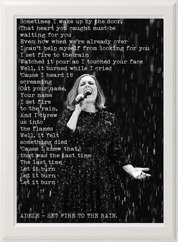 ADELE - SET FIRE TO THE RAIN! (white frame)