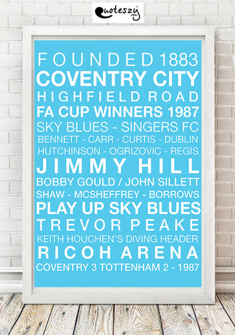 COVENTRY CITY WORD PRINT (white frame)