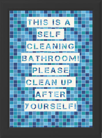 BATHROOM - CLEAN UP! (blue & black frame)