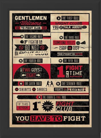 FIGHT CLUB RULES! (black frame)