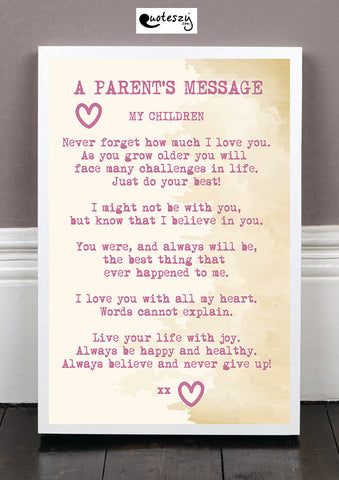 A PARENTS MESSAGE! (white frame)