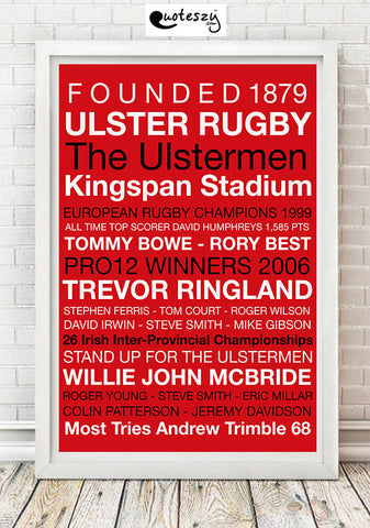 ULSTER RUGBY PRINT (white frame)