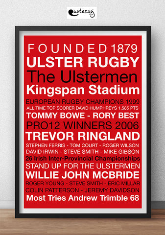 ULSTER RUGBY PRINT (black frame)