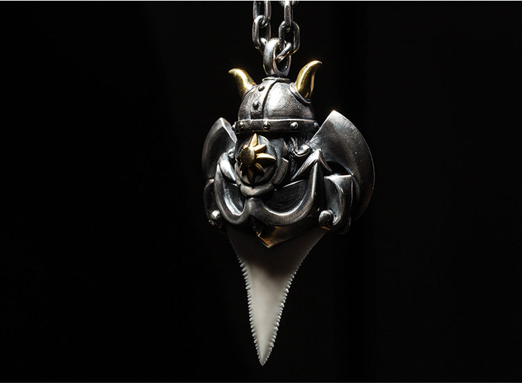 Bearded Viking & Shark Tooth Pendant - Holy Buyble