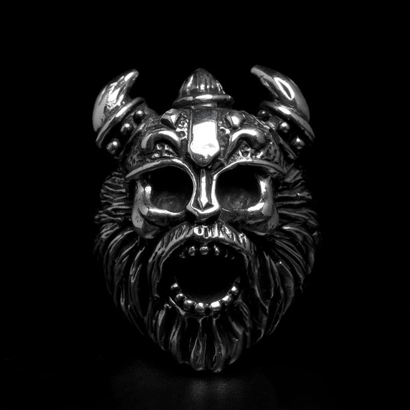 Bearded Viking Skull Ring - Holy Buyble