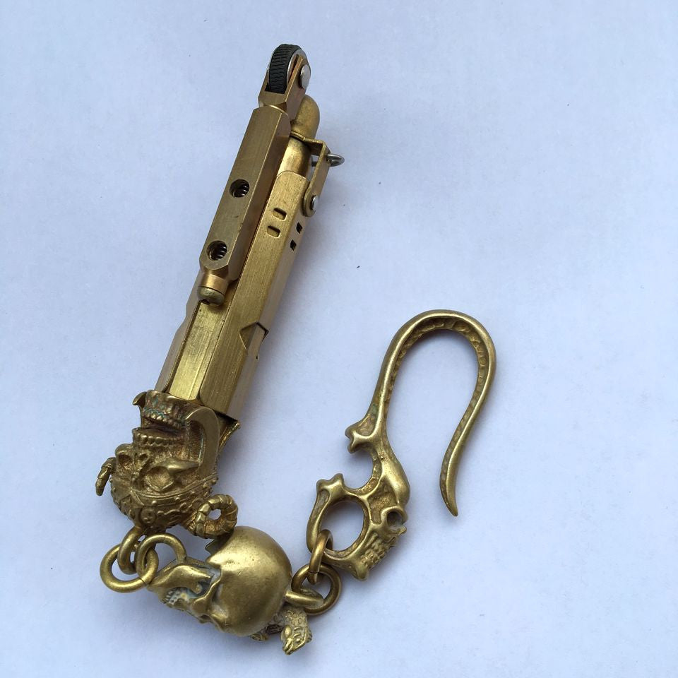 Brass Warrior Skull & Hook Lighter - Holy Buyble