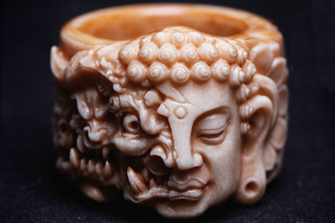 Tibetan Vajra & Spinning Eight Trigrams Leather Bracelet