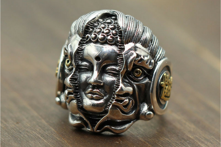Buddha Devil Silver Ring - Holy Buyble