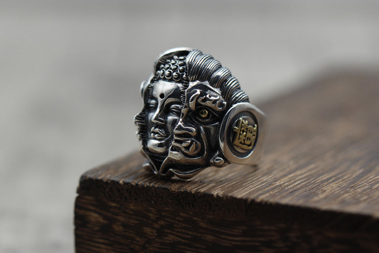 Handcrafted Buddha Devil Silver Ring - Holy Buyble
