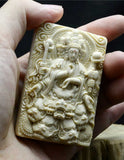 Mammoth Ivory Fossil Buddha & Dragon Guardians Pendant - Holy Buyble