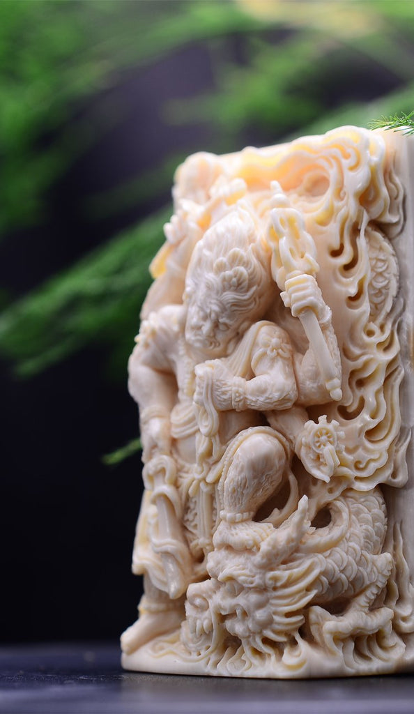 Double Sided Mammoth Ivory Fossil Immovable Protector Acalanatha Pendant - Holy Buyble