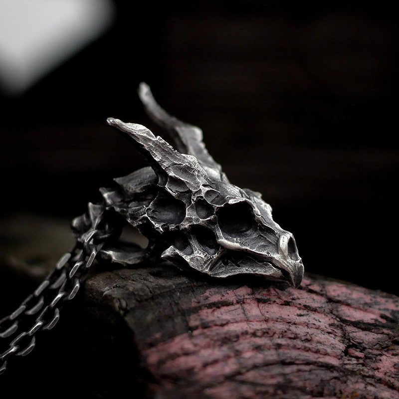 Horned Dragon Skeleton Pendant