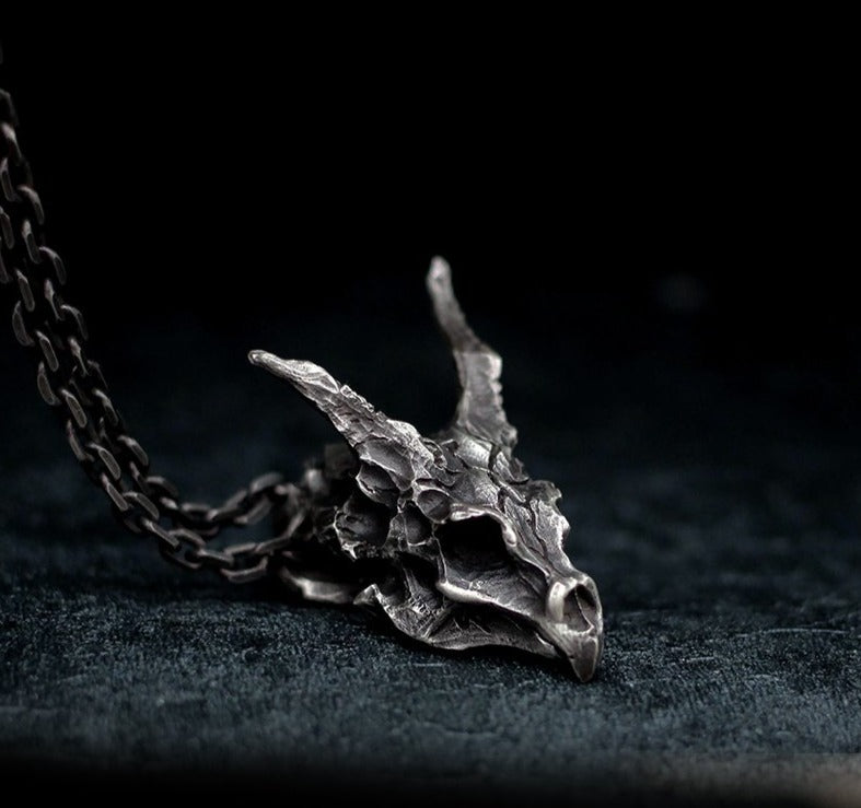 Horned Dragon Skull Pendant Necklace