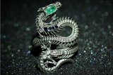 Emerald & Sapphire Embellished Dragon Skeleton Ring - Holy Buyble