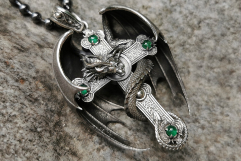 Crusaders Dragon Cross Necklace