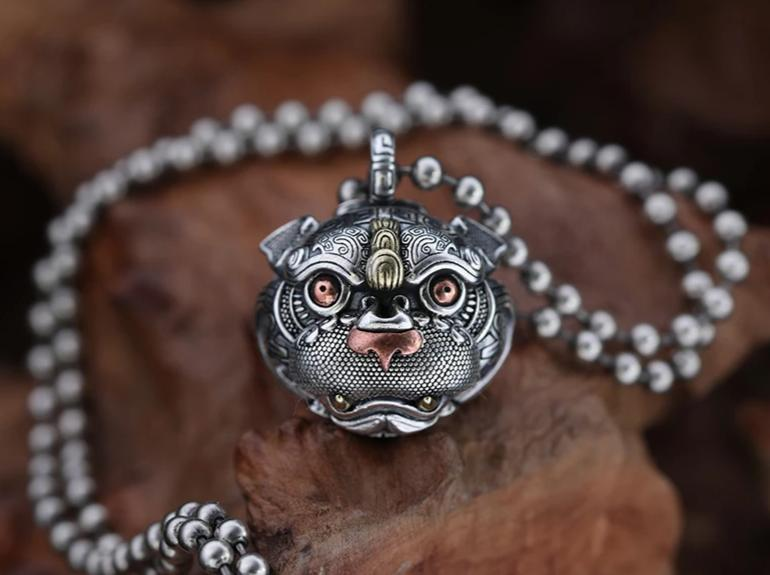 Guardian of Fortune Tribal Foo Dog Lion Necklace - Holy Buyble