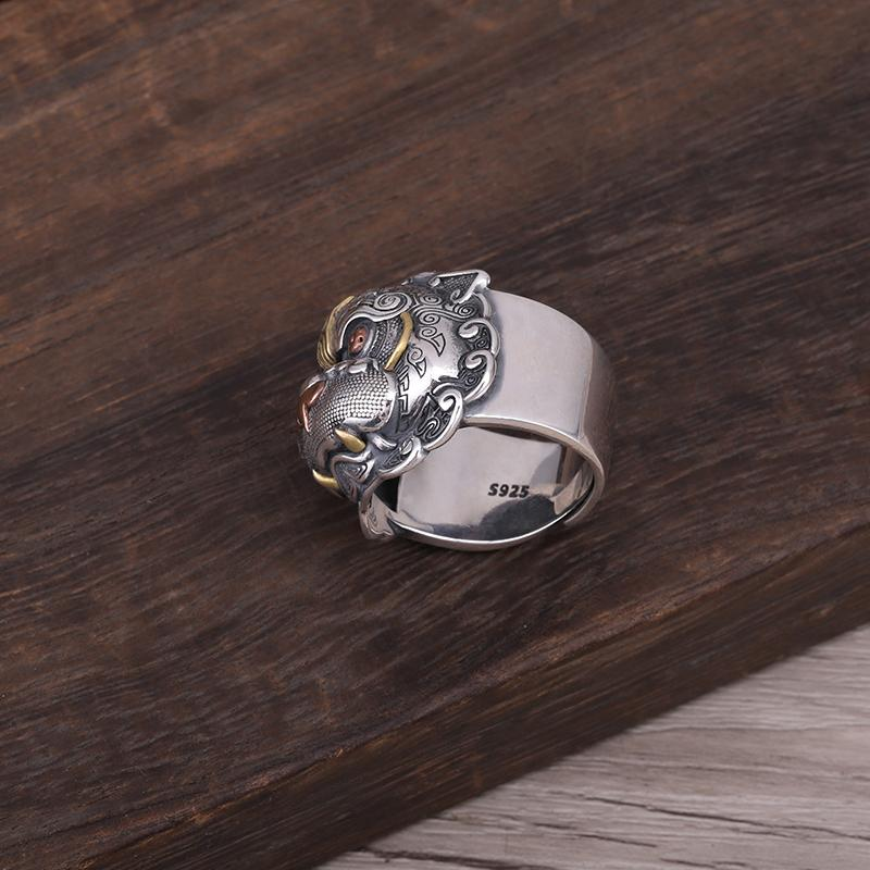 Guardian of Fortune Tribal Foo Dog Lion Ring - Holy Buyble