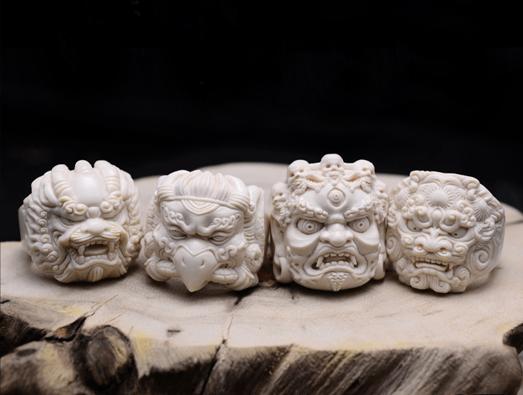 Mammoth Ivory Fossil Foo Dog Ring - Holy Buyble